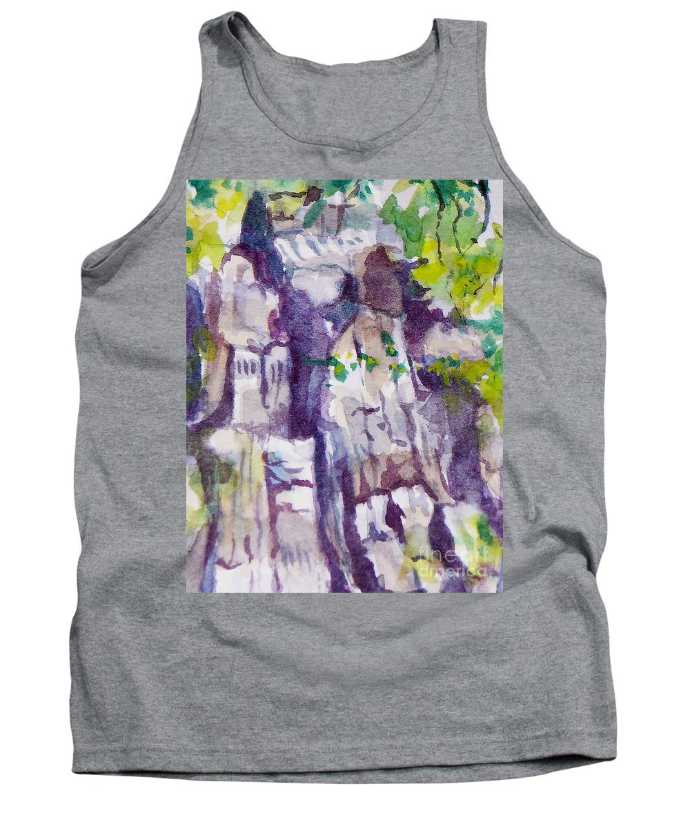 Purple Tank Top featuring the painting The Little Climbing Wall by Jan Bennicoff