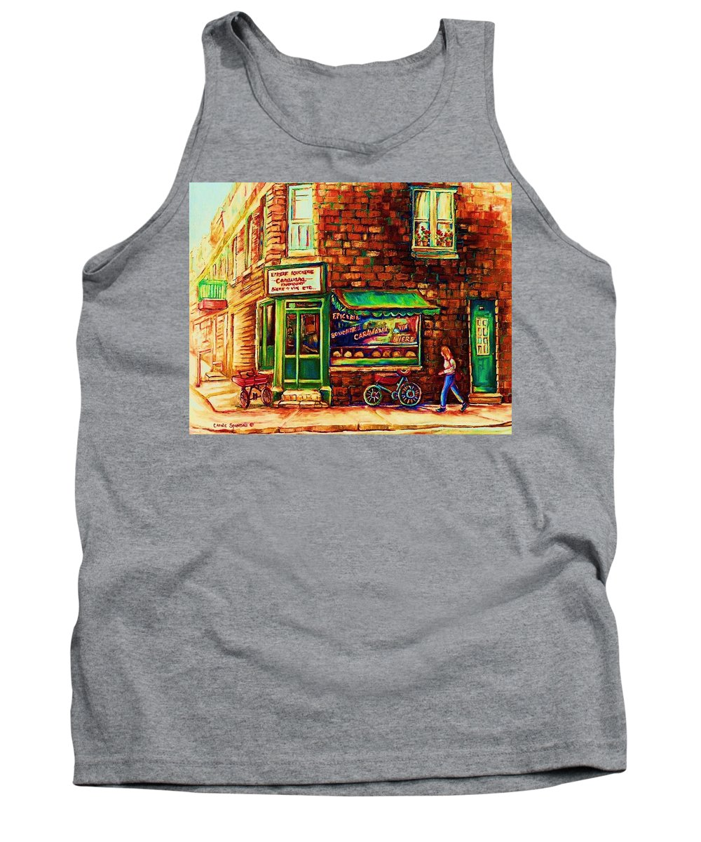 Montreal Tank Top featuring the painting The Little Red Wagon by Carole Spandau