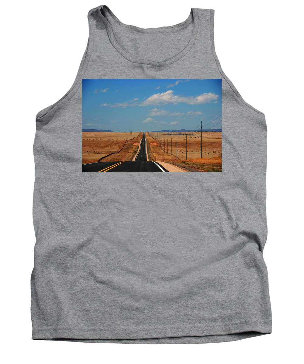 Long Road Tank Top featuring the photograph The Long Road To Santa Fe by Susanne Van Hulst
