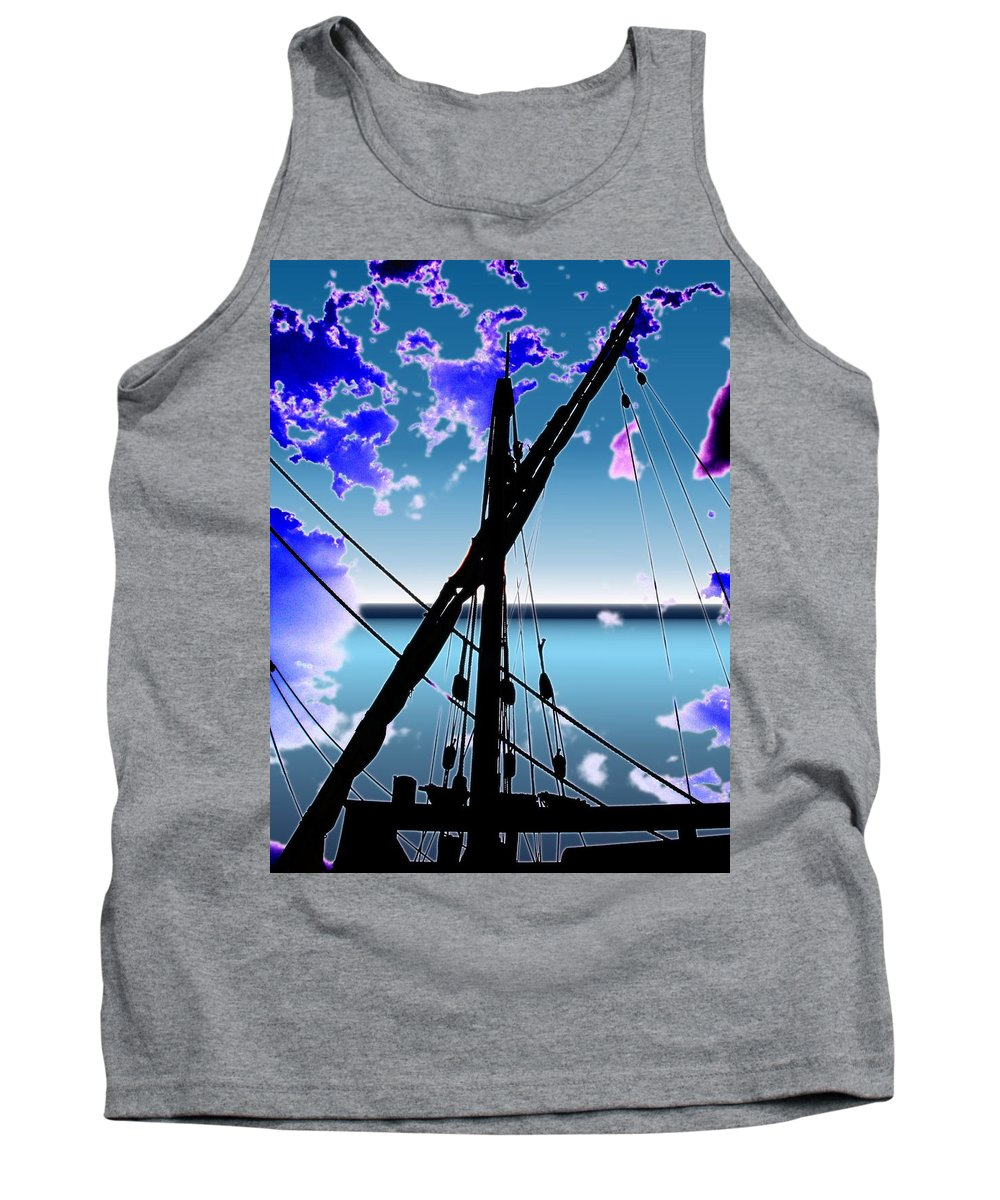 Seattle Tank Top featuring the digital art The Nina Mast by Tim Allen