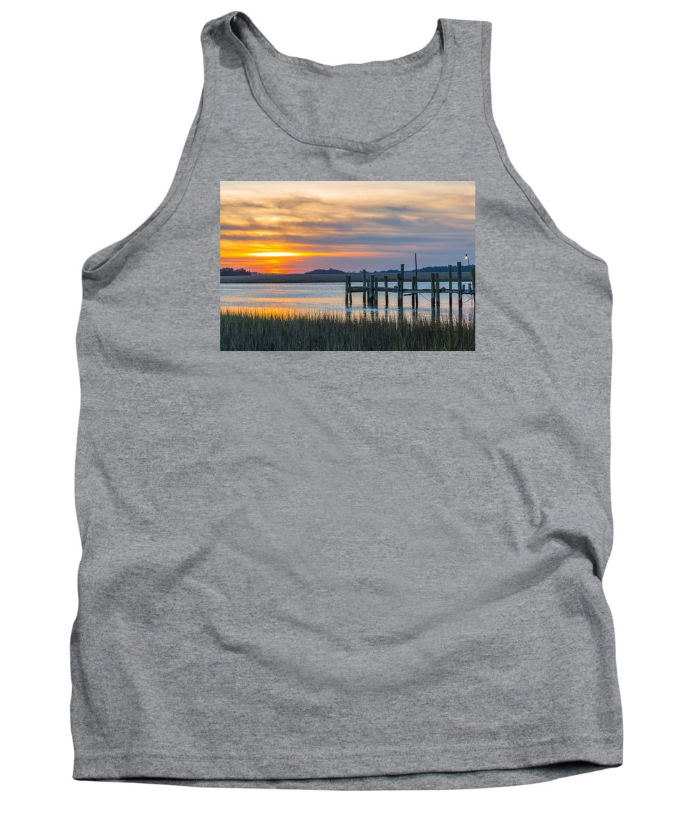 Folly Beach Tank Top featuring the photograph The Old Dock - Charleston Low Country by Donnie Whitaker