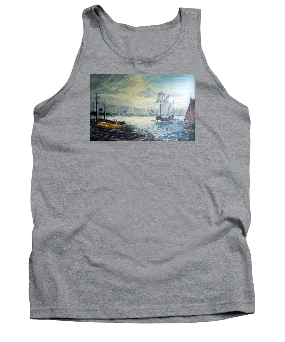 London Tank Top featuring the painting The Old London Bridge by Mackenzie Moulton