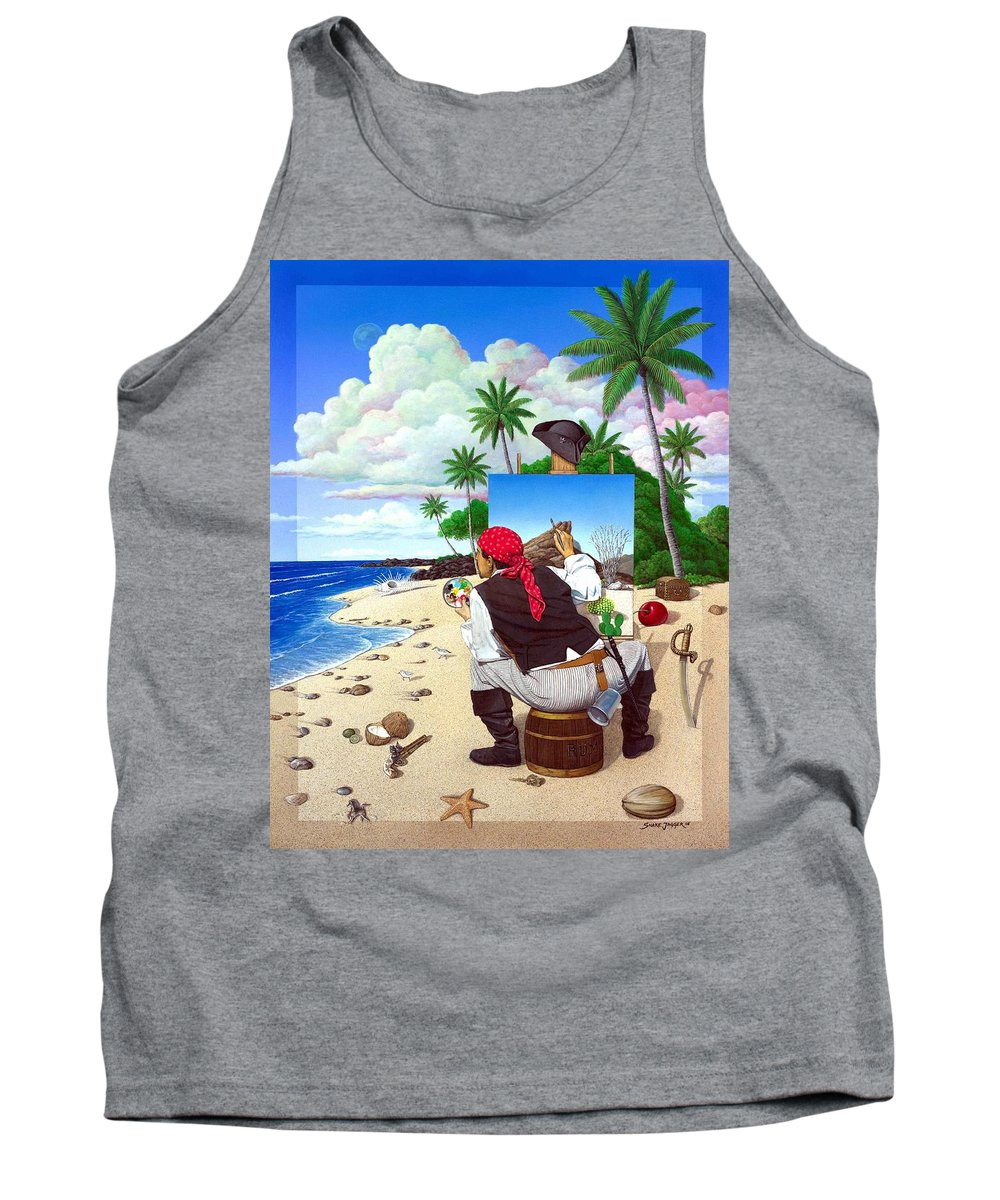 Pirate Tank Top featuring the painting The Painting Pirate by Snake Jagger