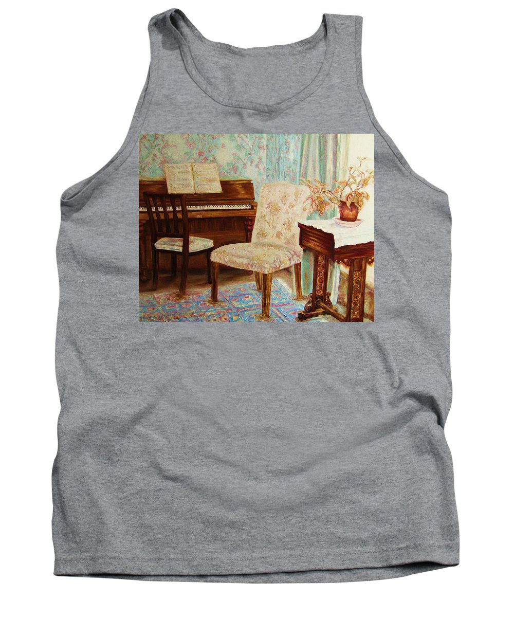 Iimpressionism Tank Top featuring the painting The Piano Room by Carole Spandau
