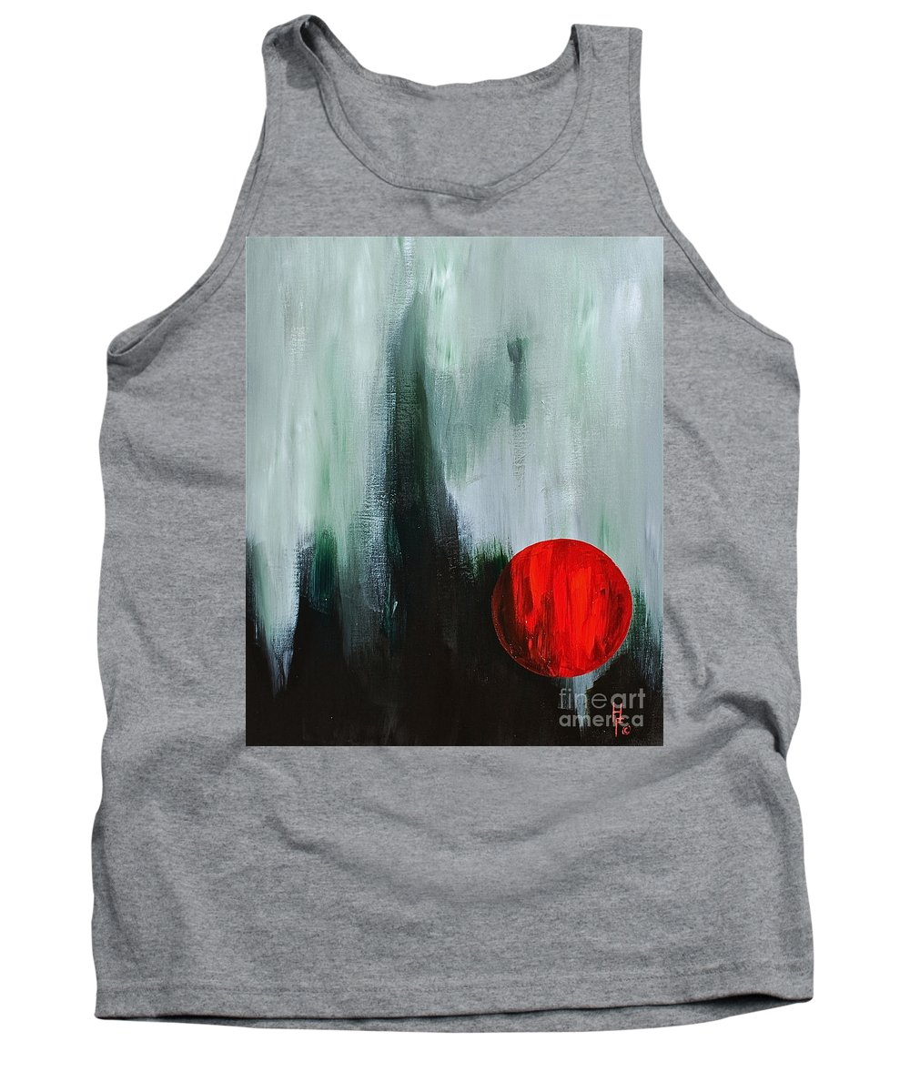 Abstract By Herschel Fall Red And Green Tank Top featuring the painting The Point Is by Herschel Fall