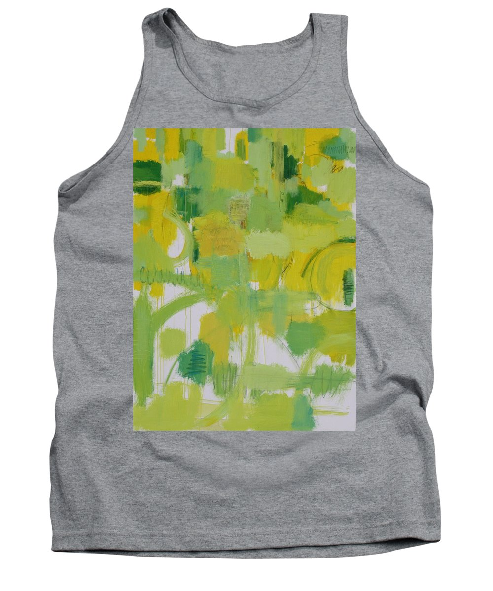 Abstract Tank Top featuring the painting The Power Of Green by Habib Ayat
