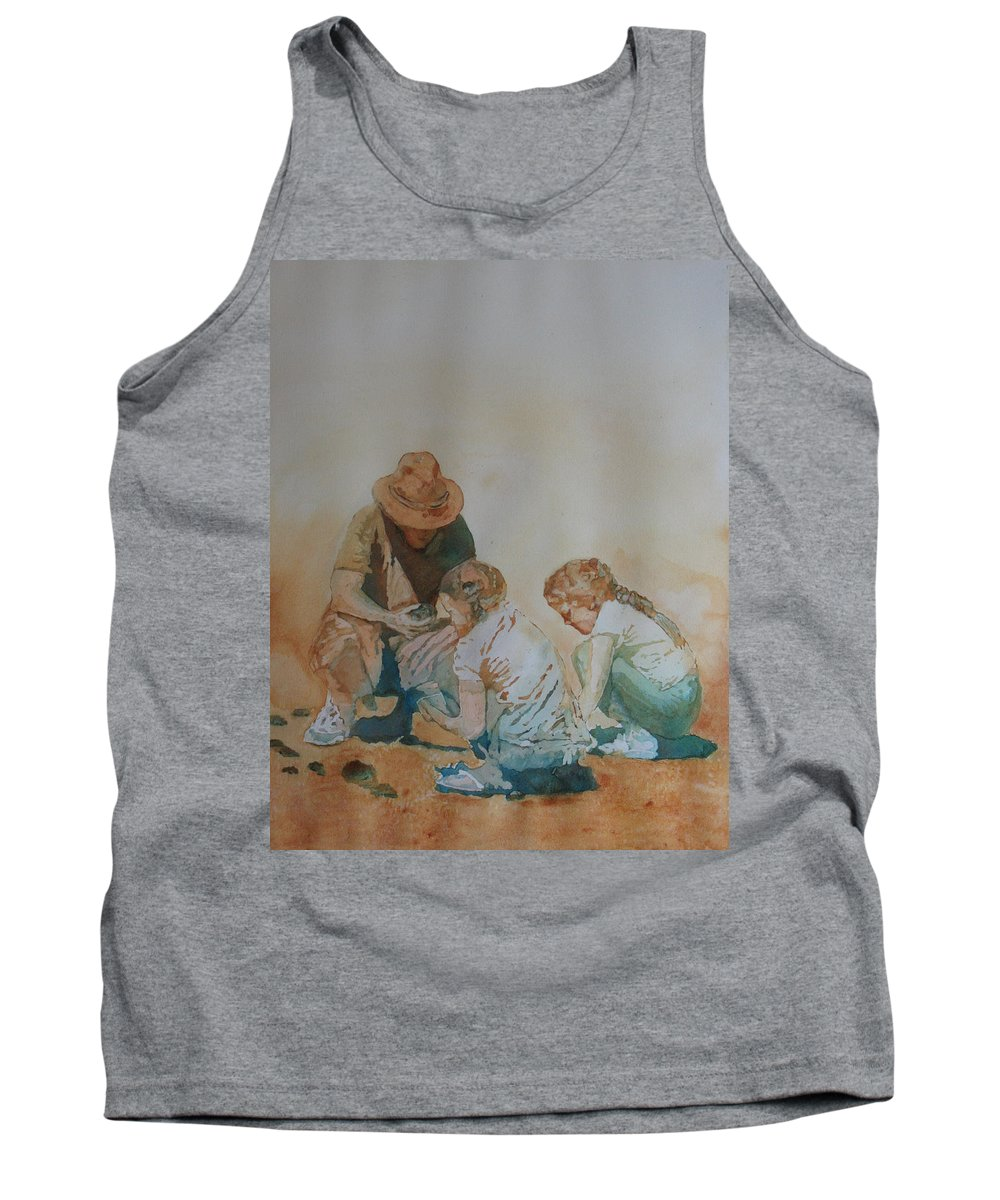 Fathers Tank Top featuring the painting The Pumice Seekers by Jenny Armitage