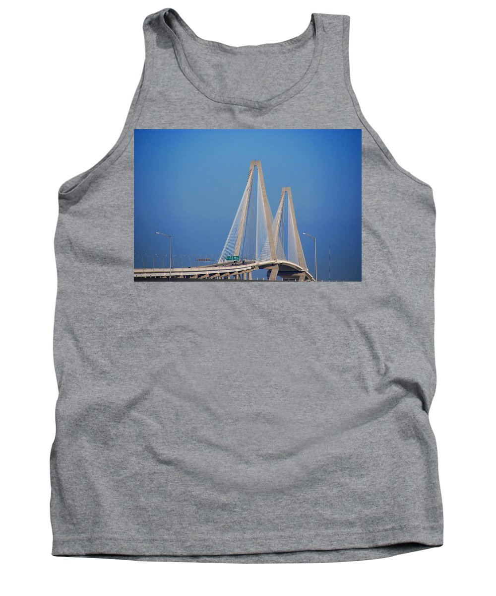 Photography Tank Top featuring the photograph The Ravanel Bridge In Charleston by Susanne Van Hulst