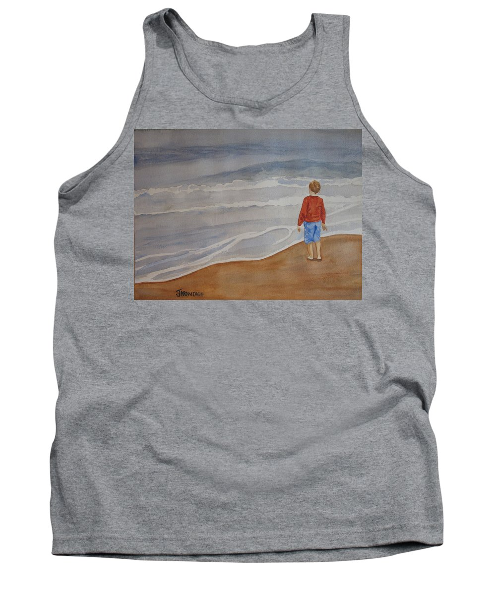 Boy Tank Top featuring the painting The Red Shirt by Jenny Armitage