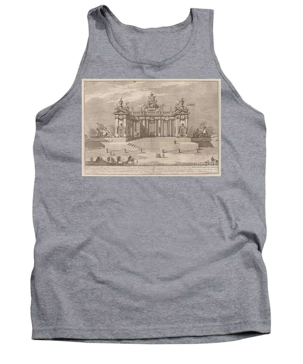 """Tank Top featuring the drawing The School Of Athens Arcades, For The """"chinea"""" Festival by Giuseppe Pozzi After Giuseppe Palazzi (designer) And Paolo Posi (architect)"""