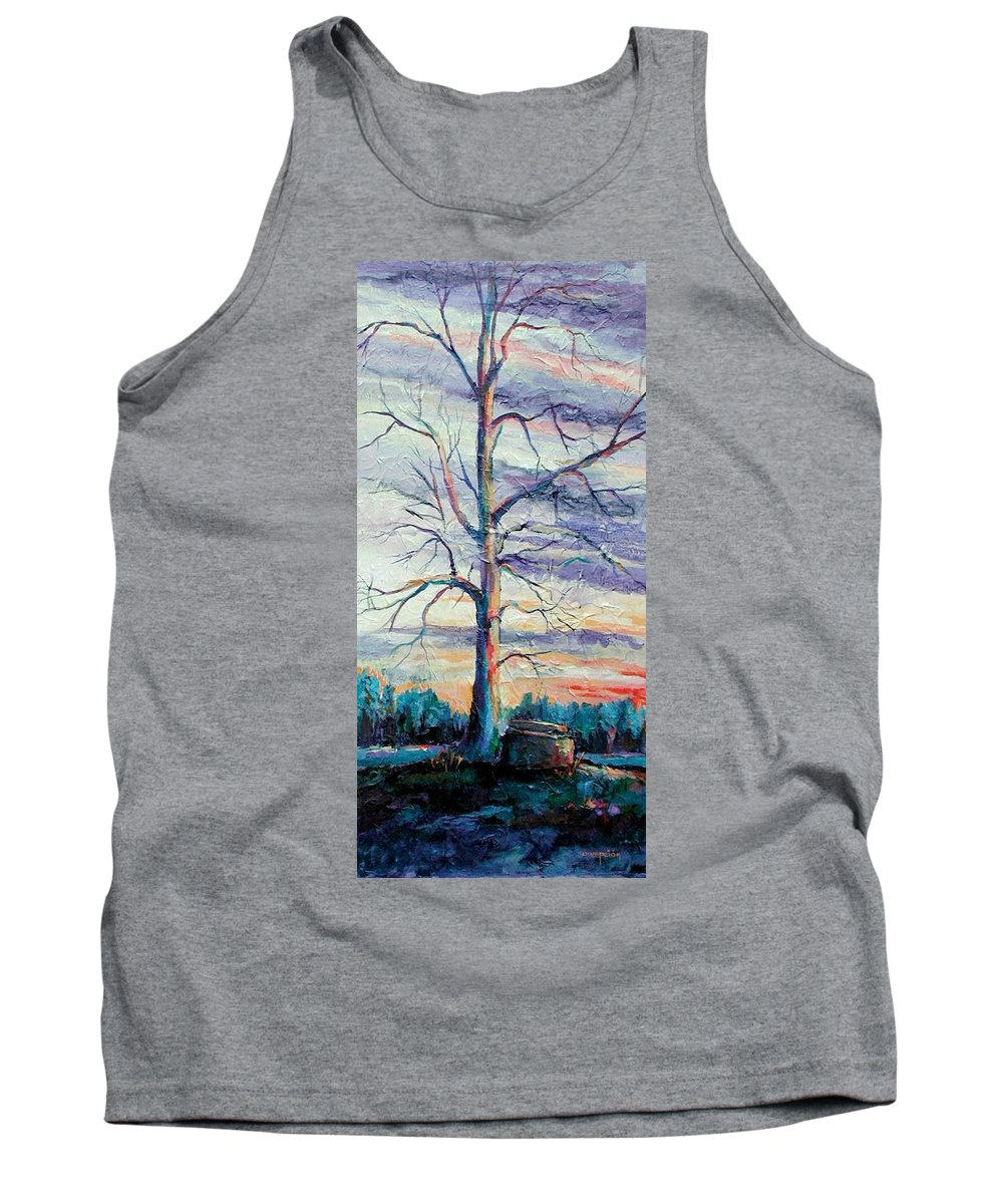 Lone Tree Tank Top featuring the painting The Sentinel by Ginger Concepcion