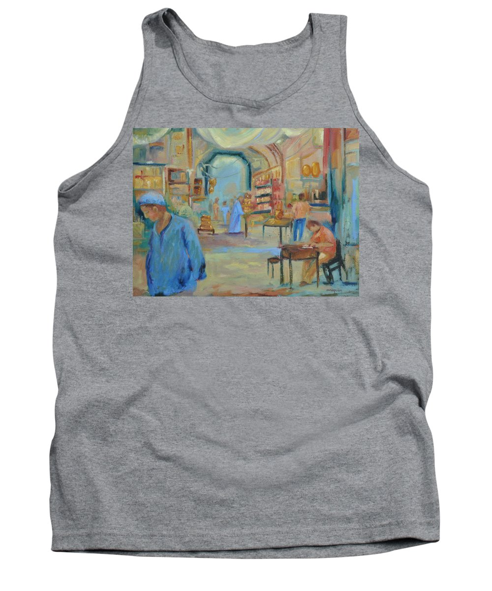 Figurative Tank Top featuring the painting The Souk by Ginger Concepcion