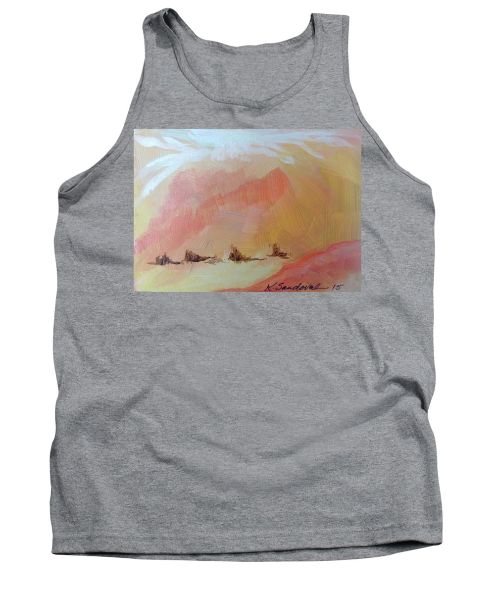 Travel Tank Top featuring the painting The Star Went Ahead Of Them by Kathleen Sandoval
