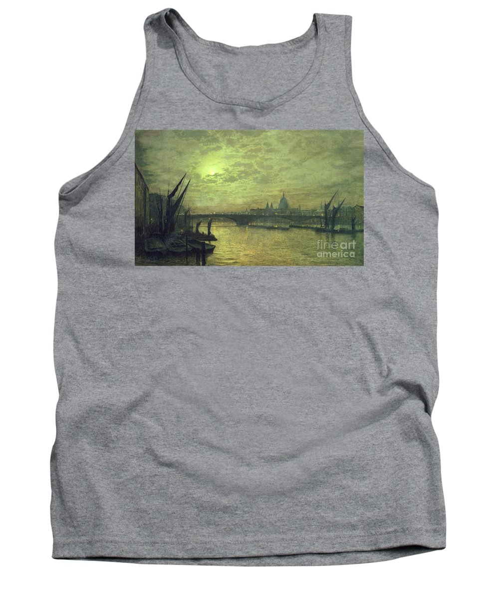 The Tank Top featuring the painting The Thames By Moonlight With Southwark Bridge by John Atkinson Grimshaw
