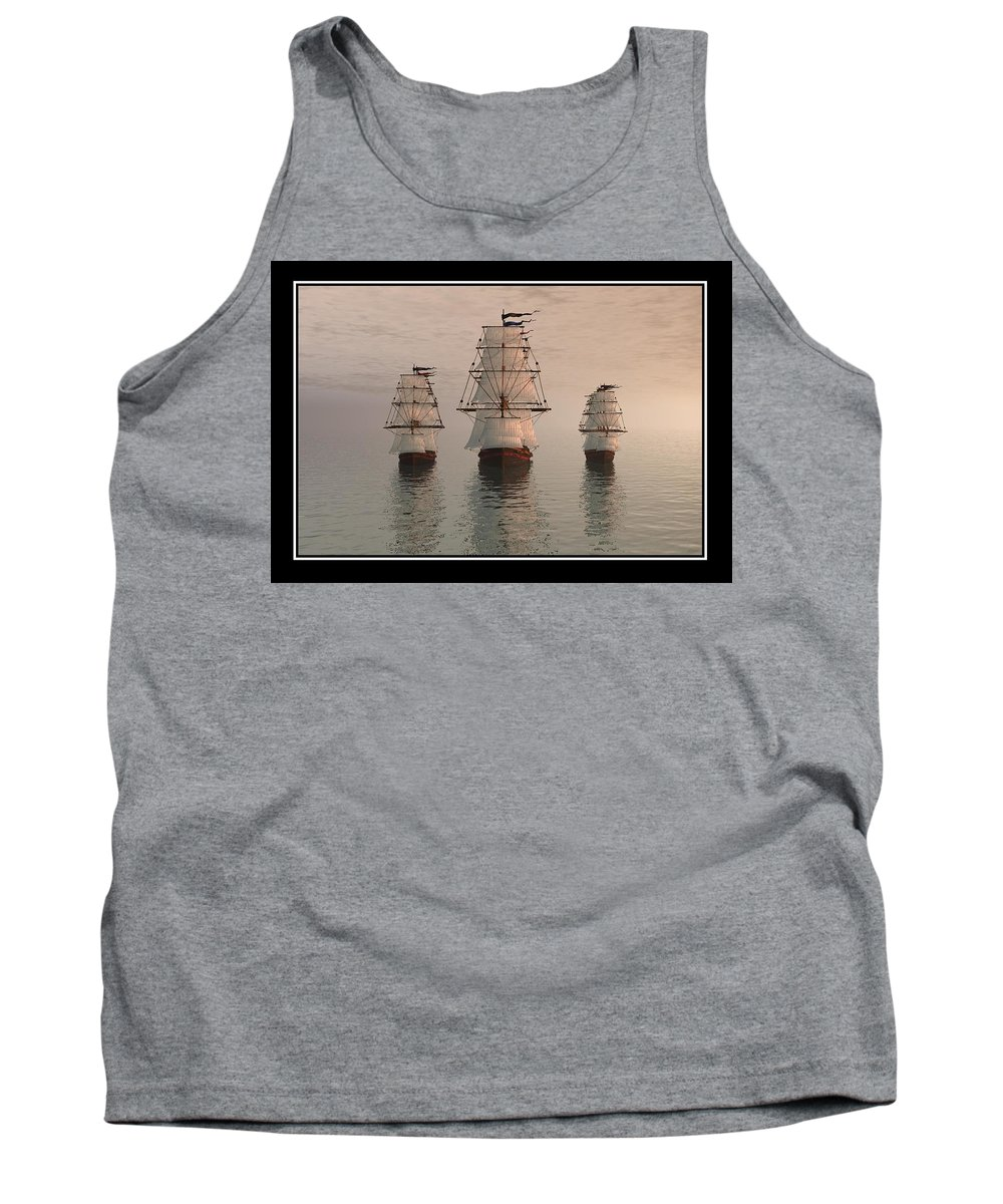 The Three Ships A Realism A Surrealism Seascape Ocean Sea Digital Art Best Canvas Print William Ballester Abstract Landscapes Canvas Prints Tank Top featuring the digital art The Three Ships by William Ballester