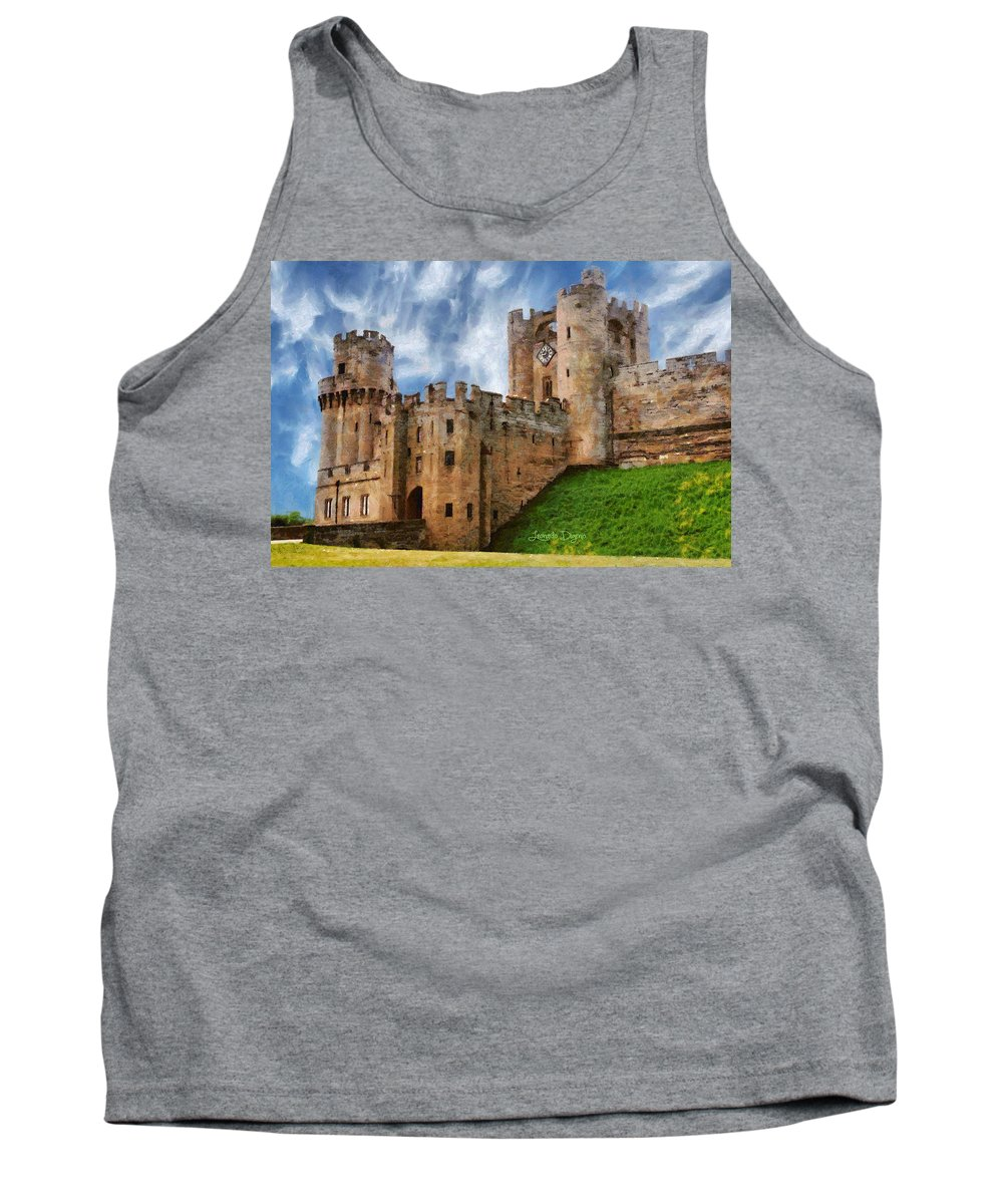 Avon Tank Top featuring the painting The Warwick Castle by Leonardo Digenio