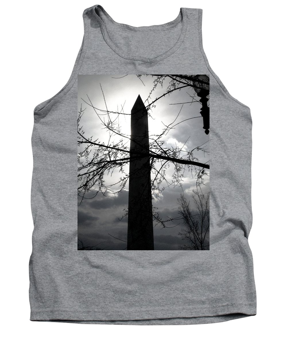 Photography Tank Top featuring the pyrography The Washington Monument - Black And White by Fareeha Khawaja