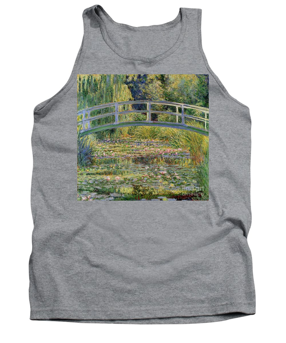 The Tank Top featuring the painting The Waterlily Pond With The Japanese Bridge by Claude Monet