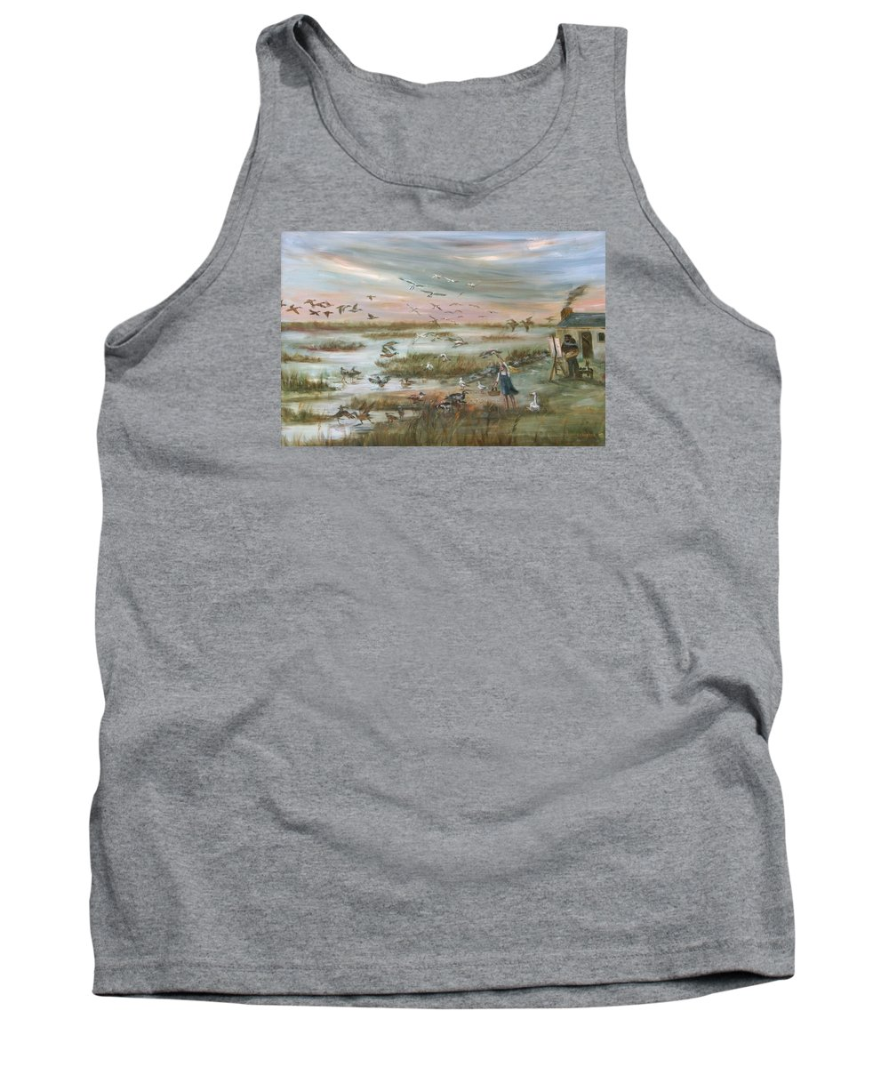 Marsh Tank Top featuring the painting The Wondrous Feathered Things Of The Great Marsh by Vivan Robinson