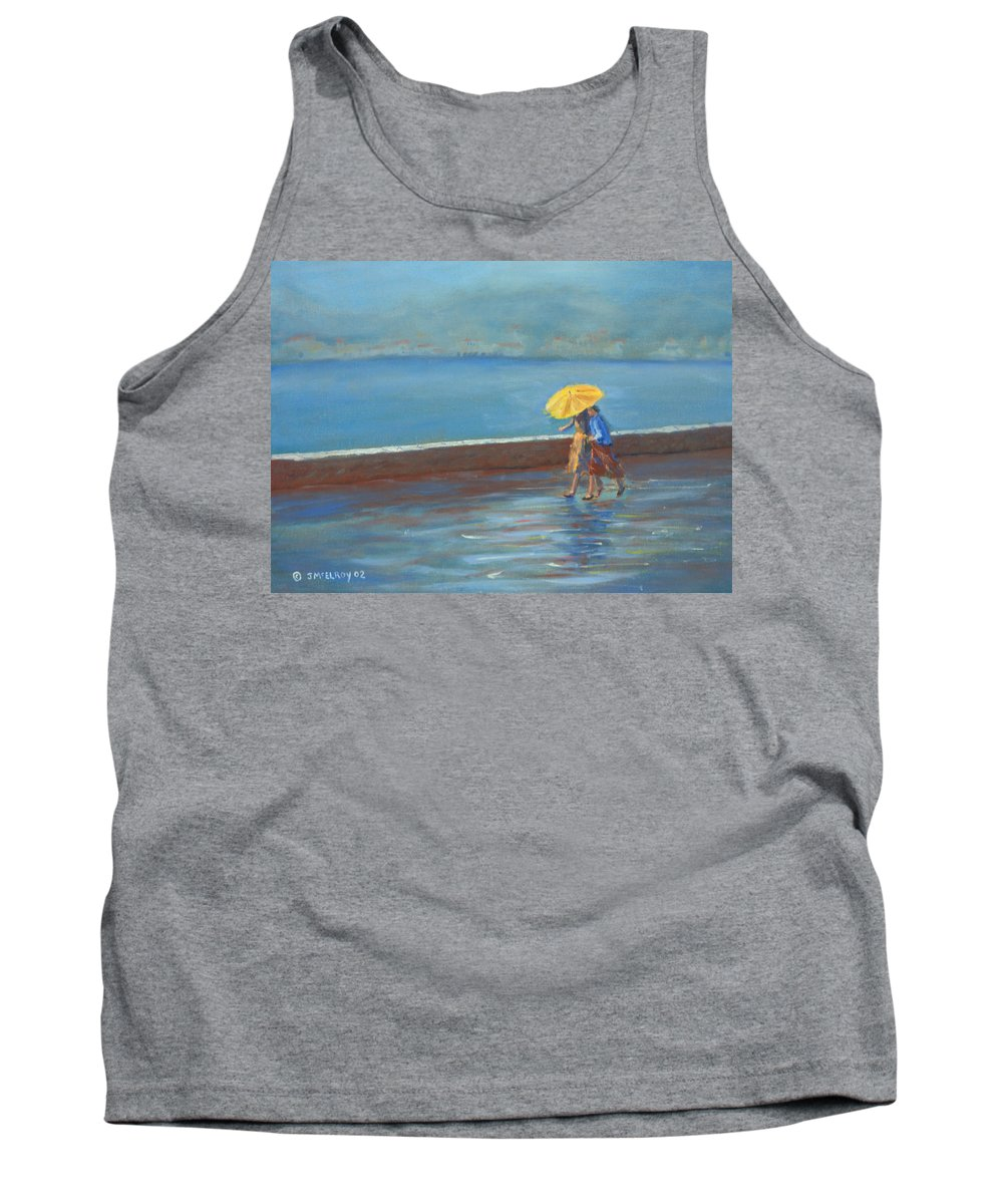 Rain Tank Top featuring the painting The Yellow Umbrella by Jerry McElroy