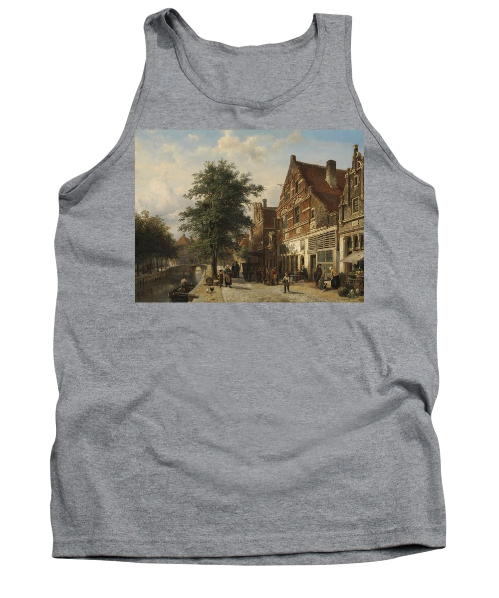 Lake Tank Top featuring the painting The Zuiderhavendijk, Enkhuizen, 1868 by Cornelis Springer