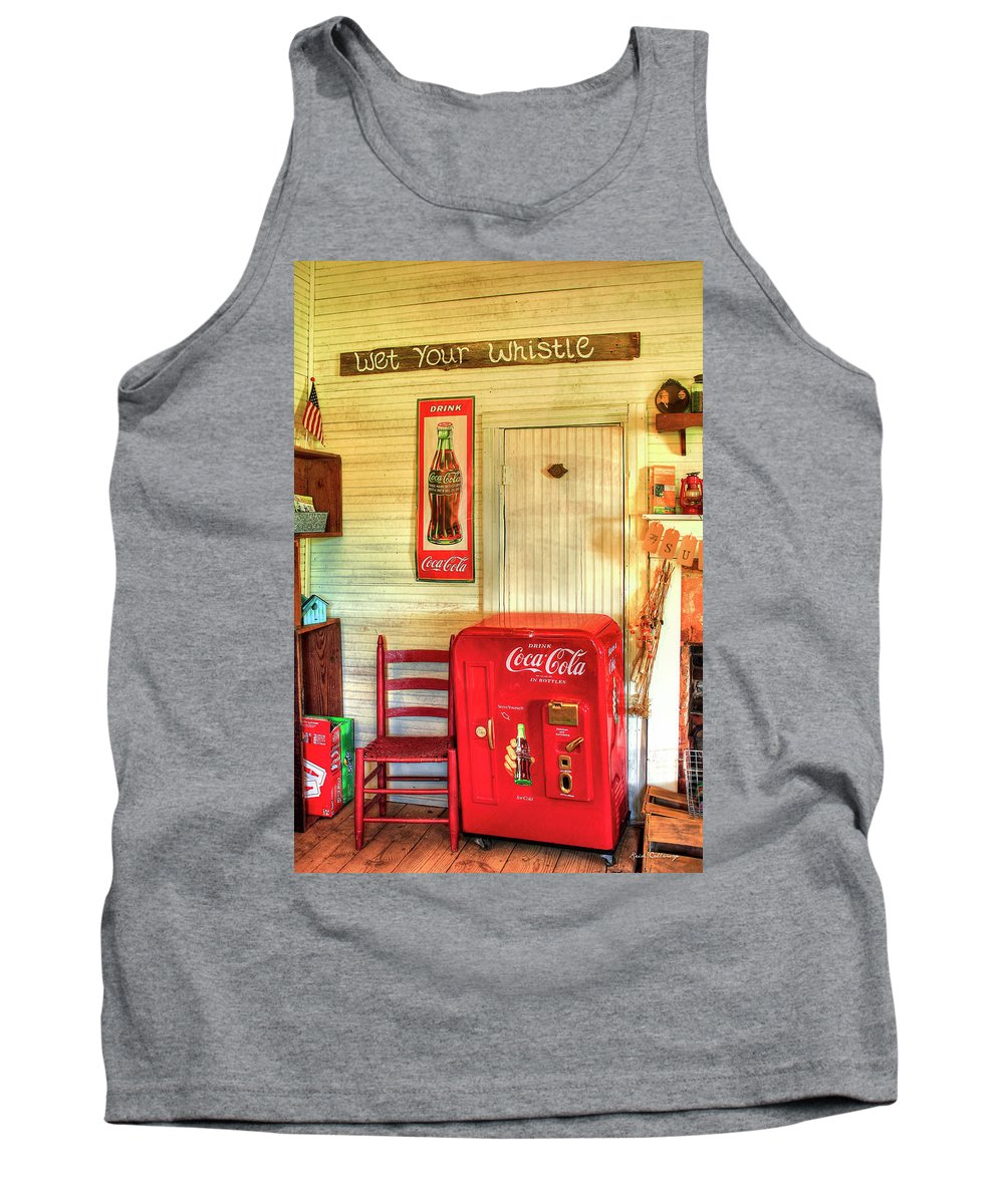 Reid Callaway Thirst-quencher Tank Top featuring the photograph Thirst-quencher Old Coke Machine by Reid Callaway