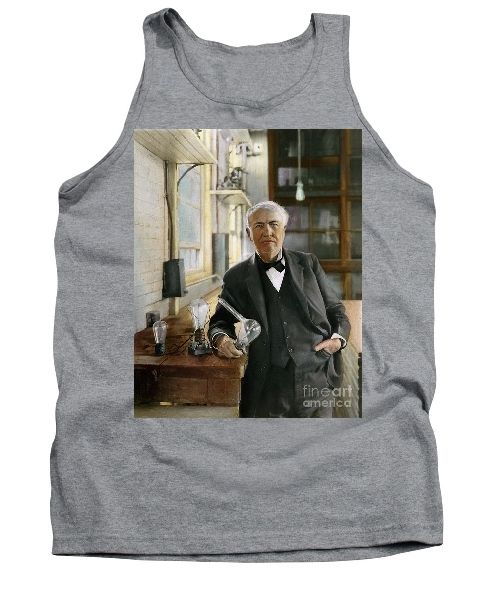 1915 Tank Top featuring the photograph Thomas Edison by Granger