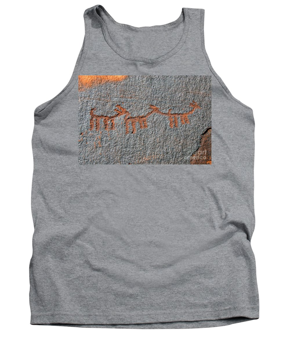 Petroglyphs Tank Top featuring the photograph Three Deer by David Lee Thompson