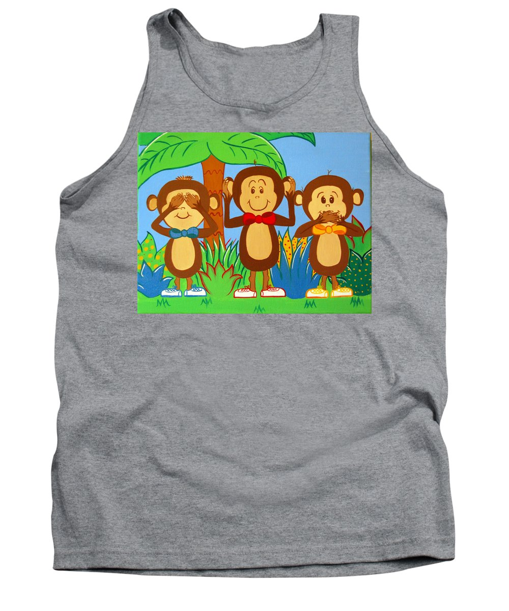Monkeys Tank Top featuring the painting Three Monkeys No Evil by Valerie Carpenter