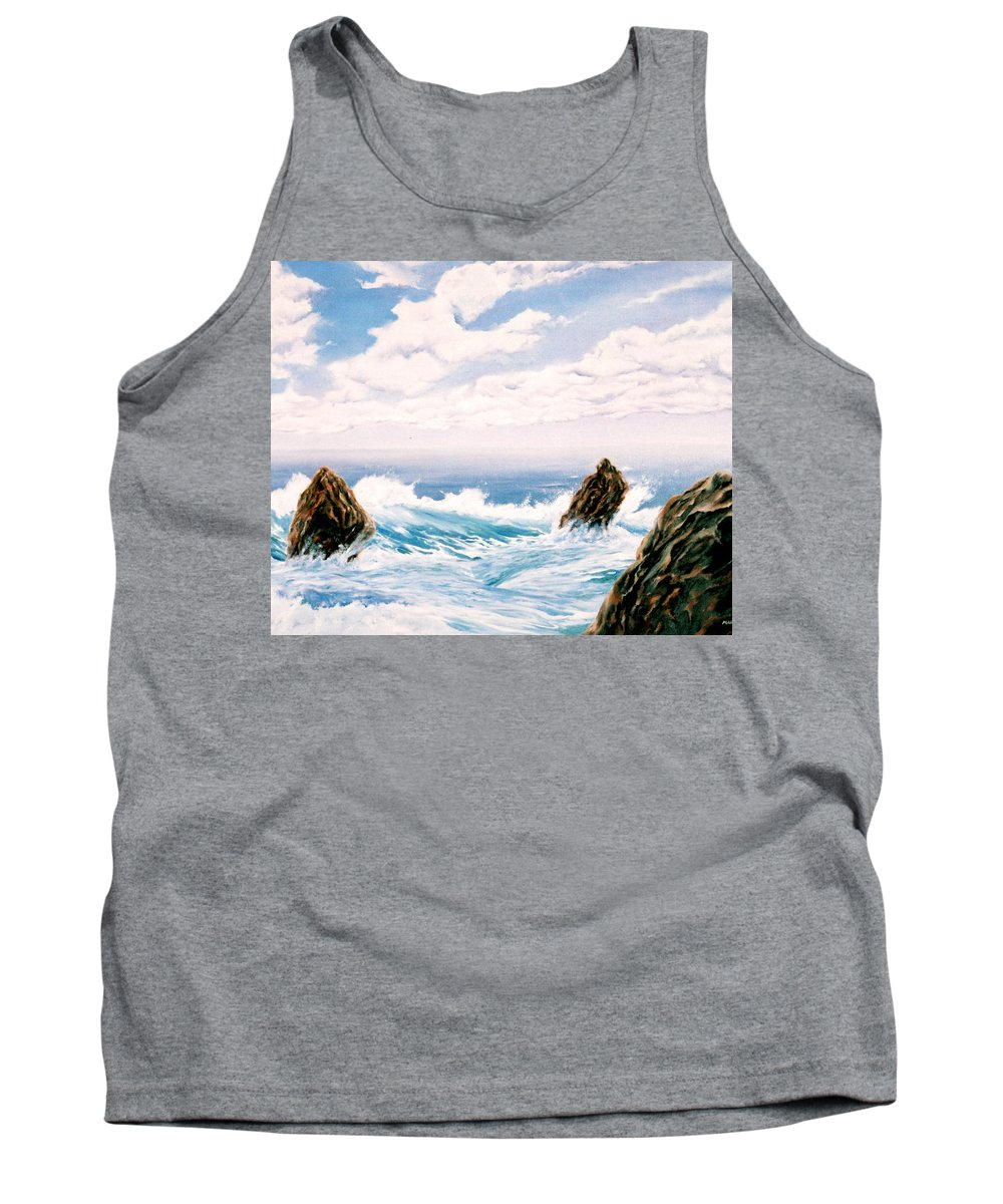 Seascape Tank Top featuring the painting Three Rocks by Mark Cawood
