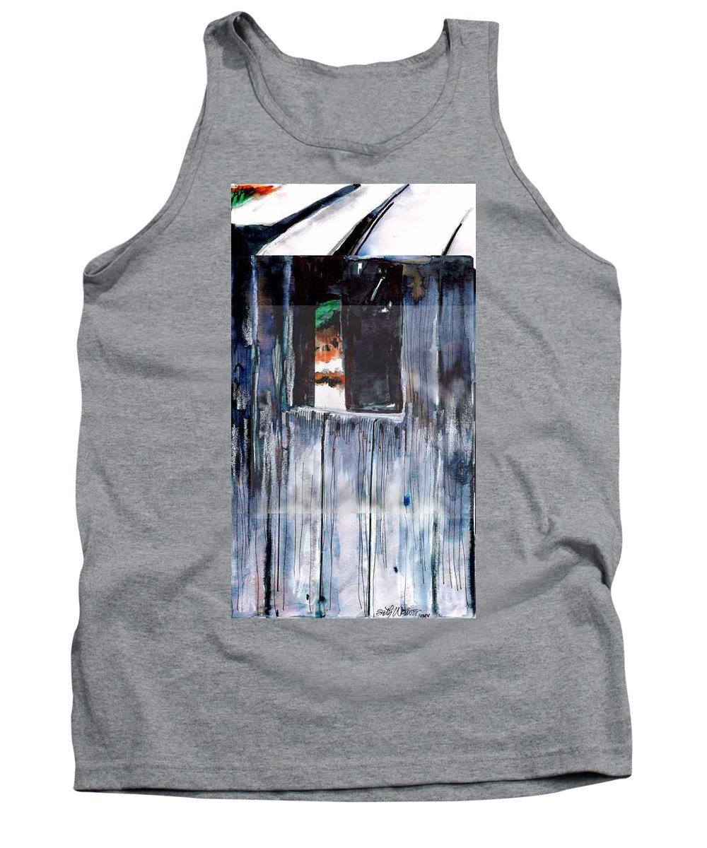 An Old Mysterious Barn With Deep Dark Shadows And Secrets. Rustic And Moody. Tank Top featuring the drawing Thru The Barn Window by Seth Weaver