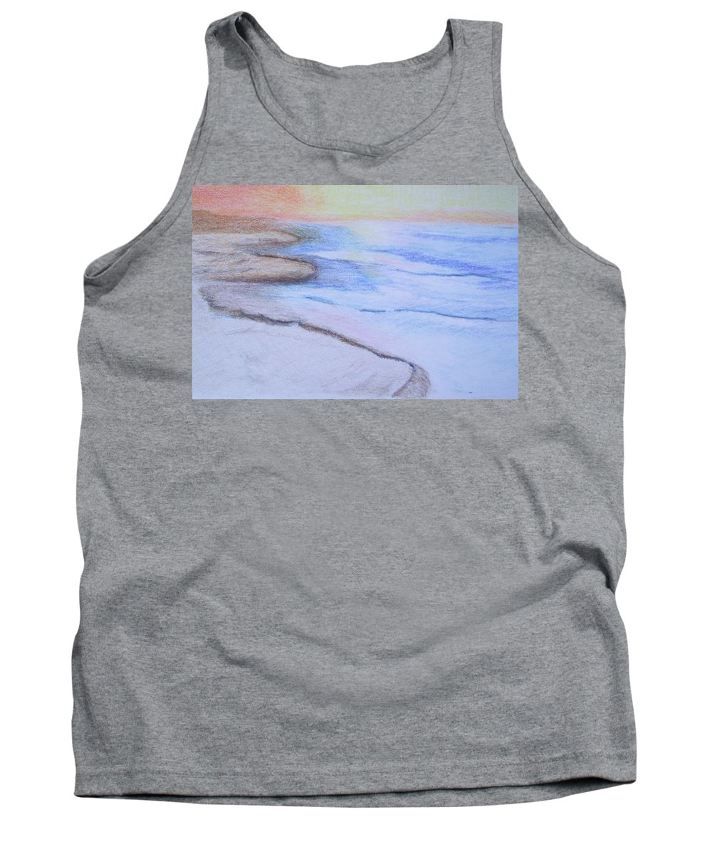Landscape Tank Top featuring the drawing Tide Is Out by Suzanne Udell Levinger