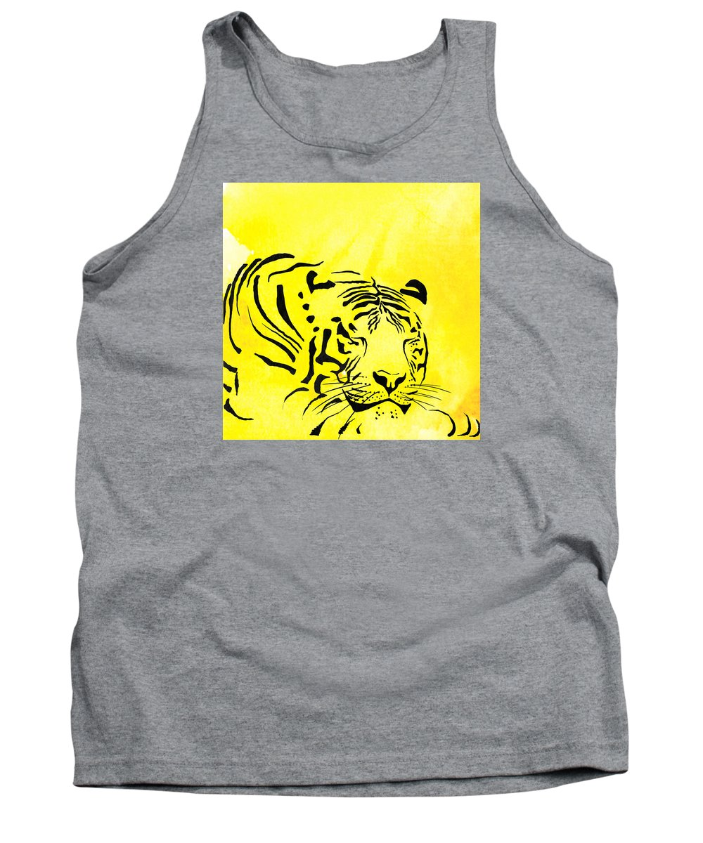 Tiger Tank Top featuring the painting Tiger Animal Decorative Black And Yellow Poster 1 - By  Diana Van by Diana Van