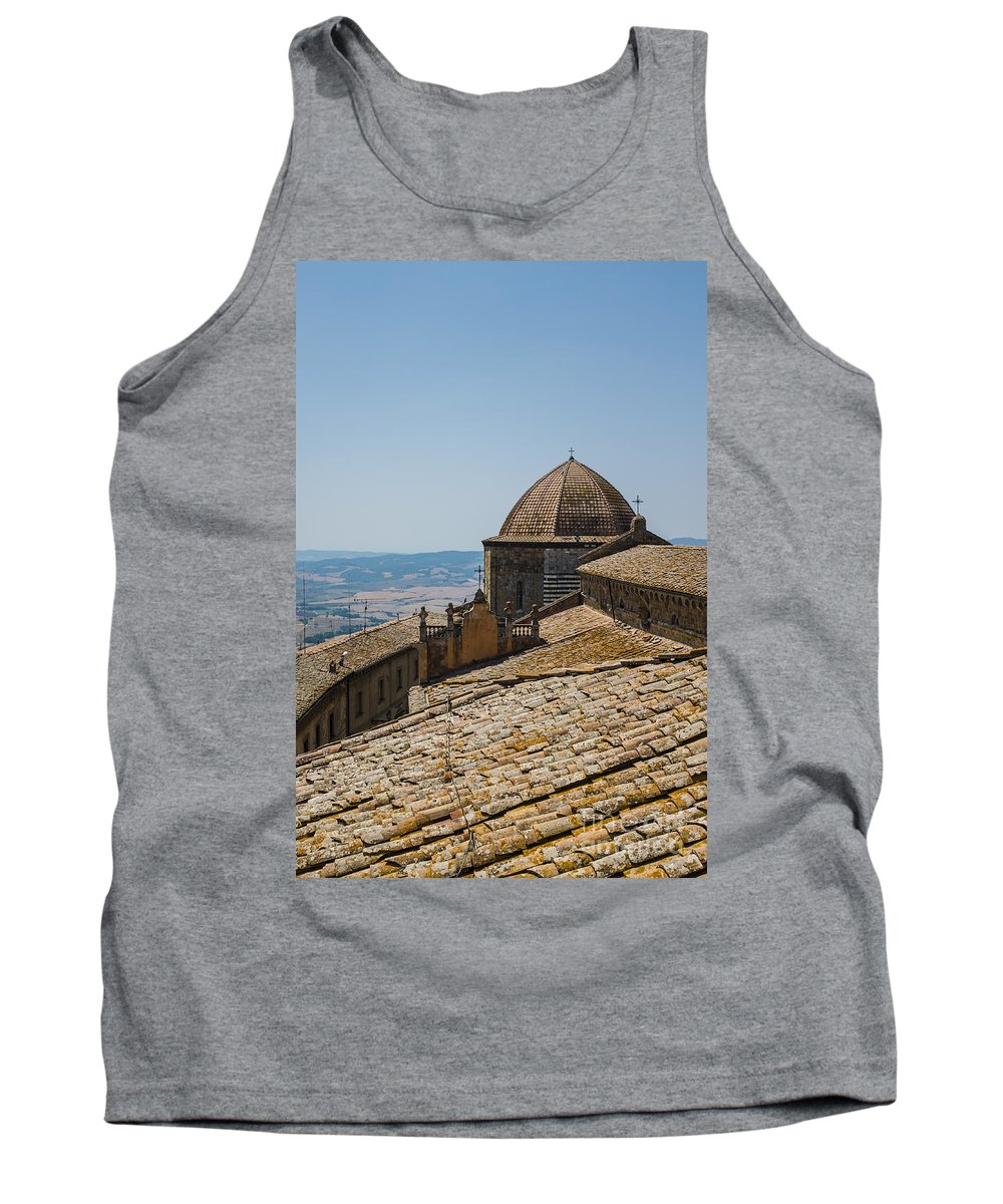 Volterra Tank Top featuring the photograph Tile Roof Tops Of Volterra Italy by Edward Fielding