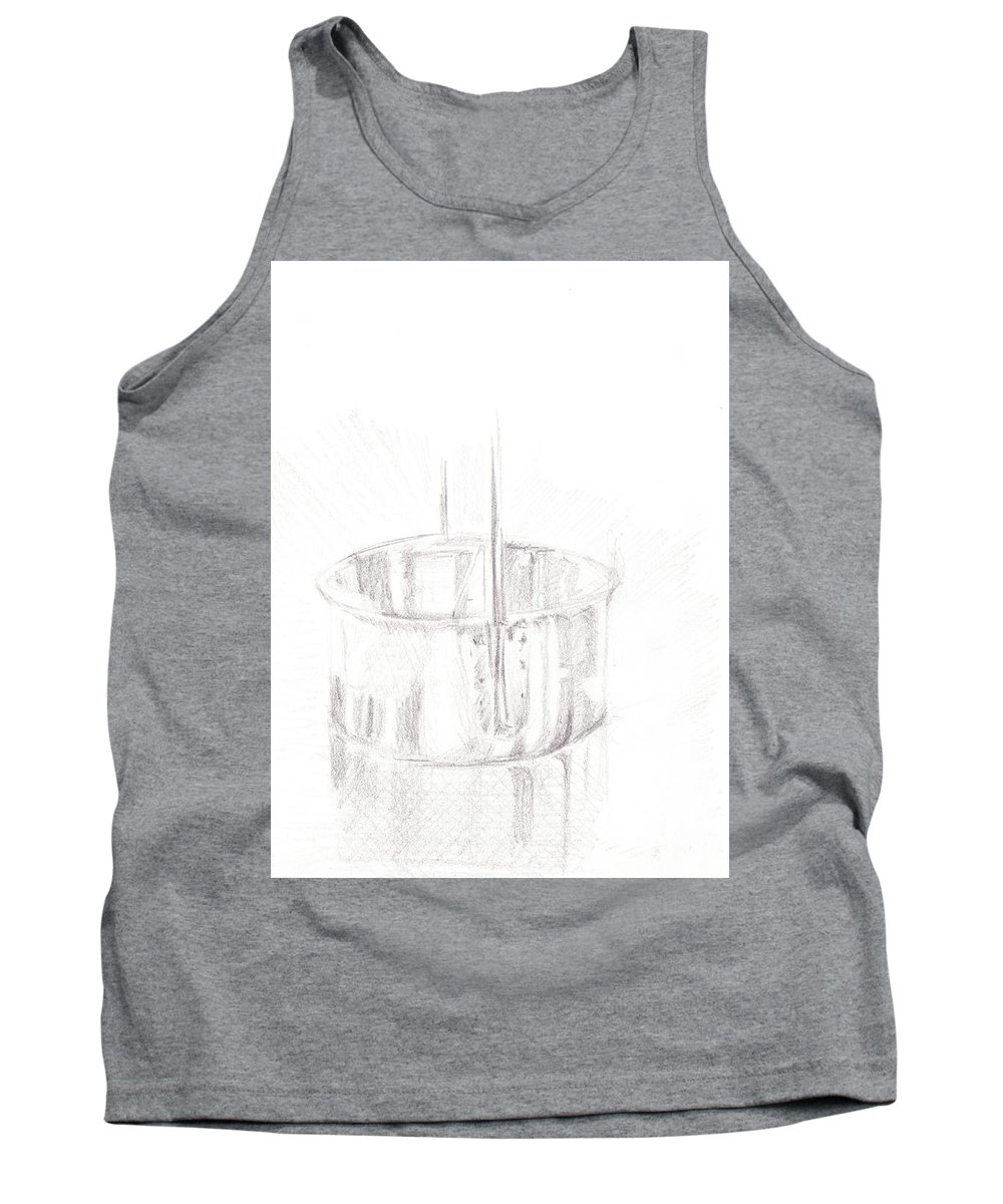 Sketch Tank Top featuring the drawing Tin Cup by James Ath