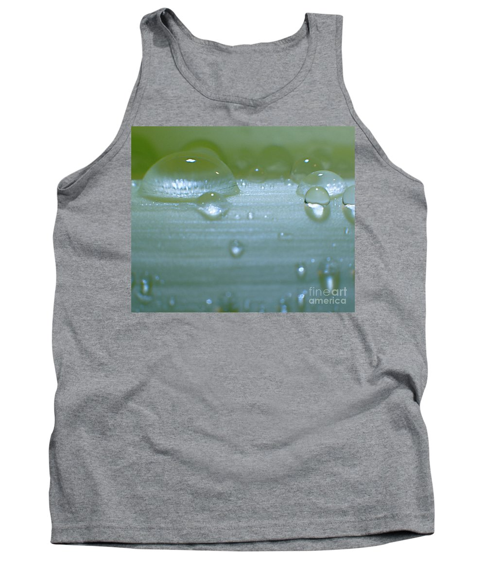Heiko Tank Top featuring the photograph Tiny Water Drops On Stipe by Heiko Koehrer-Wagner