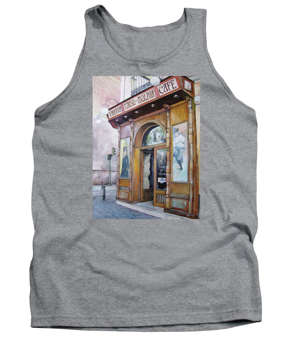 Tirso Tank Top featuring the painting Tirso De Molina Old Tavern by Tomas Castano