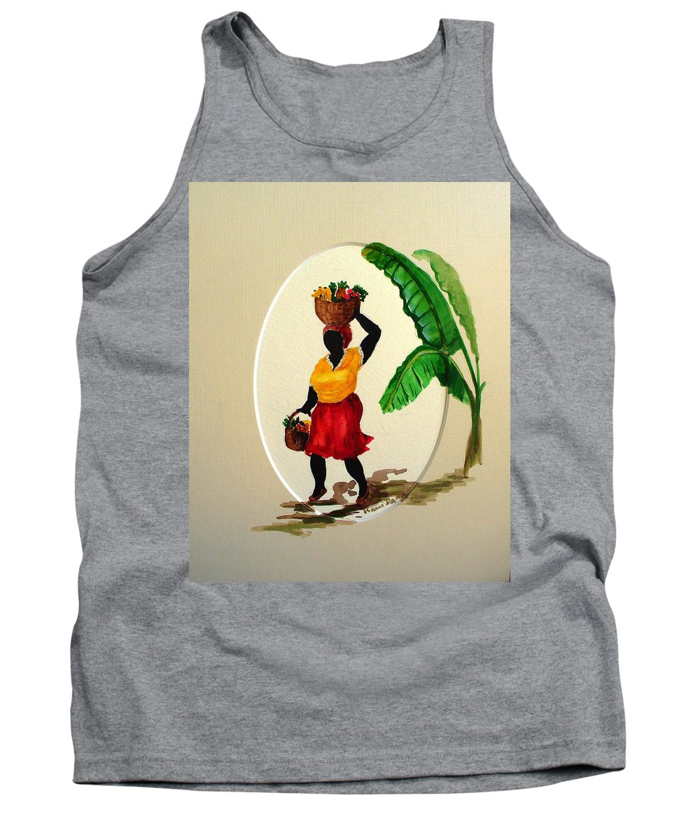Caribbean Market Womanfruit & Veg Tank Top featuring the painting To Market by Karin Dawn Kelshall- Best
