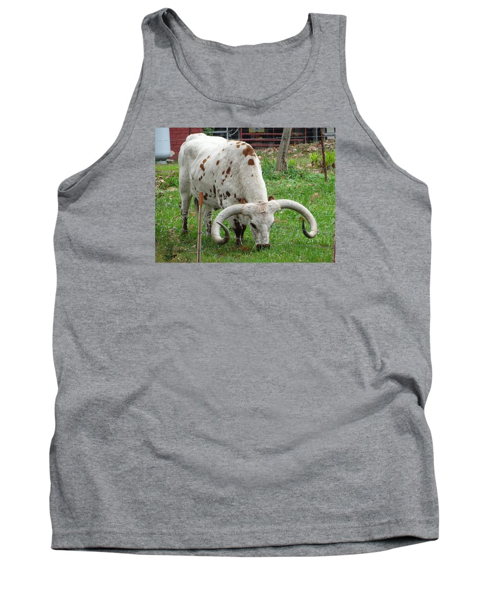 Longhorn Tank Top featuring the photograph Too Tough To Eat by Richard Goohs