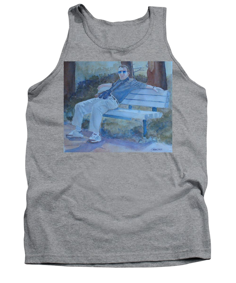 Tourists Tank Top featuring the painting Tourist At Rest by Jenny Armitage