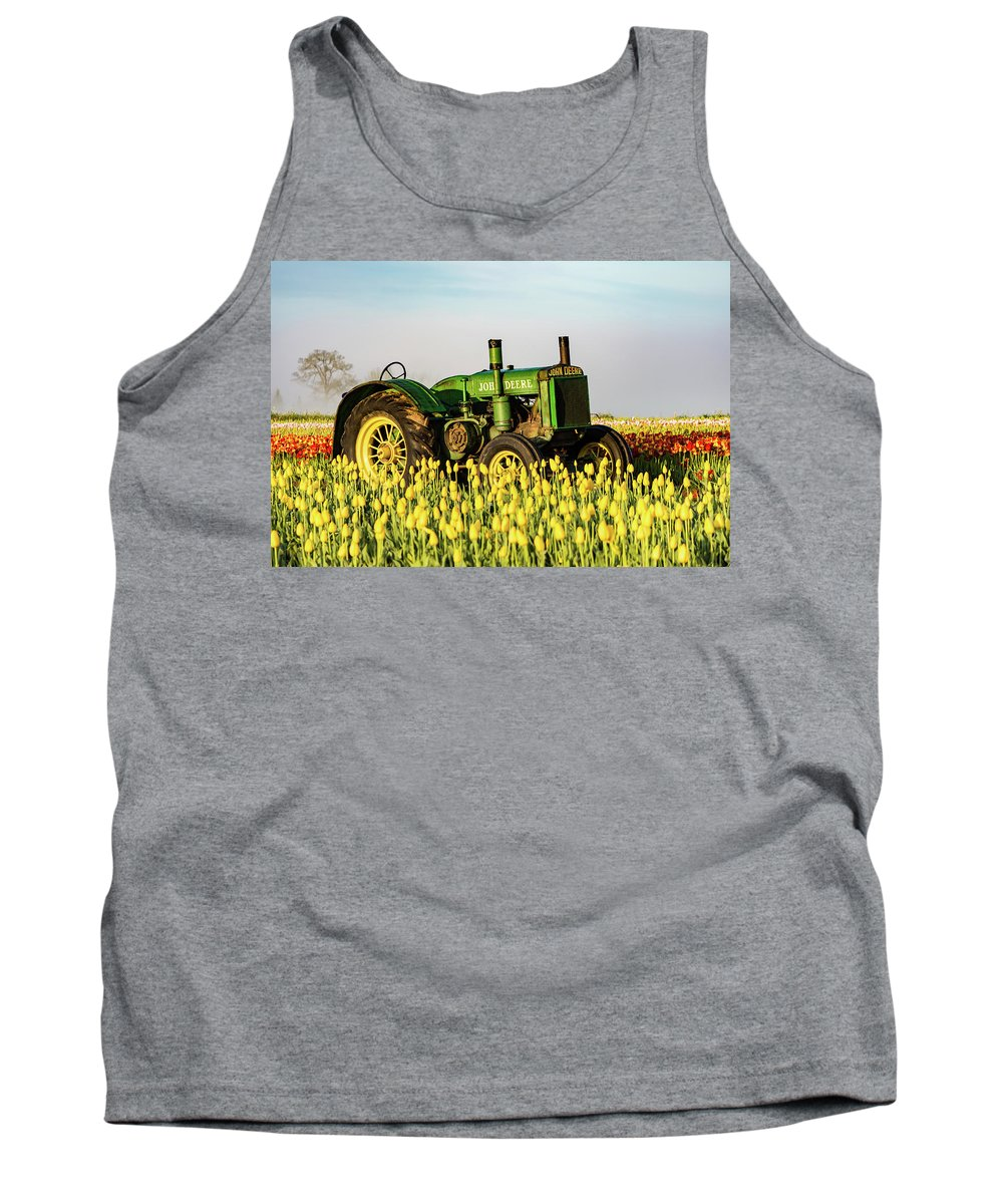 Farm. Tractor Tank Top featuring the photograph Tractor In A Field by William Downs
