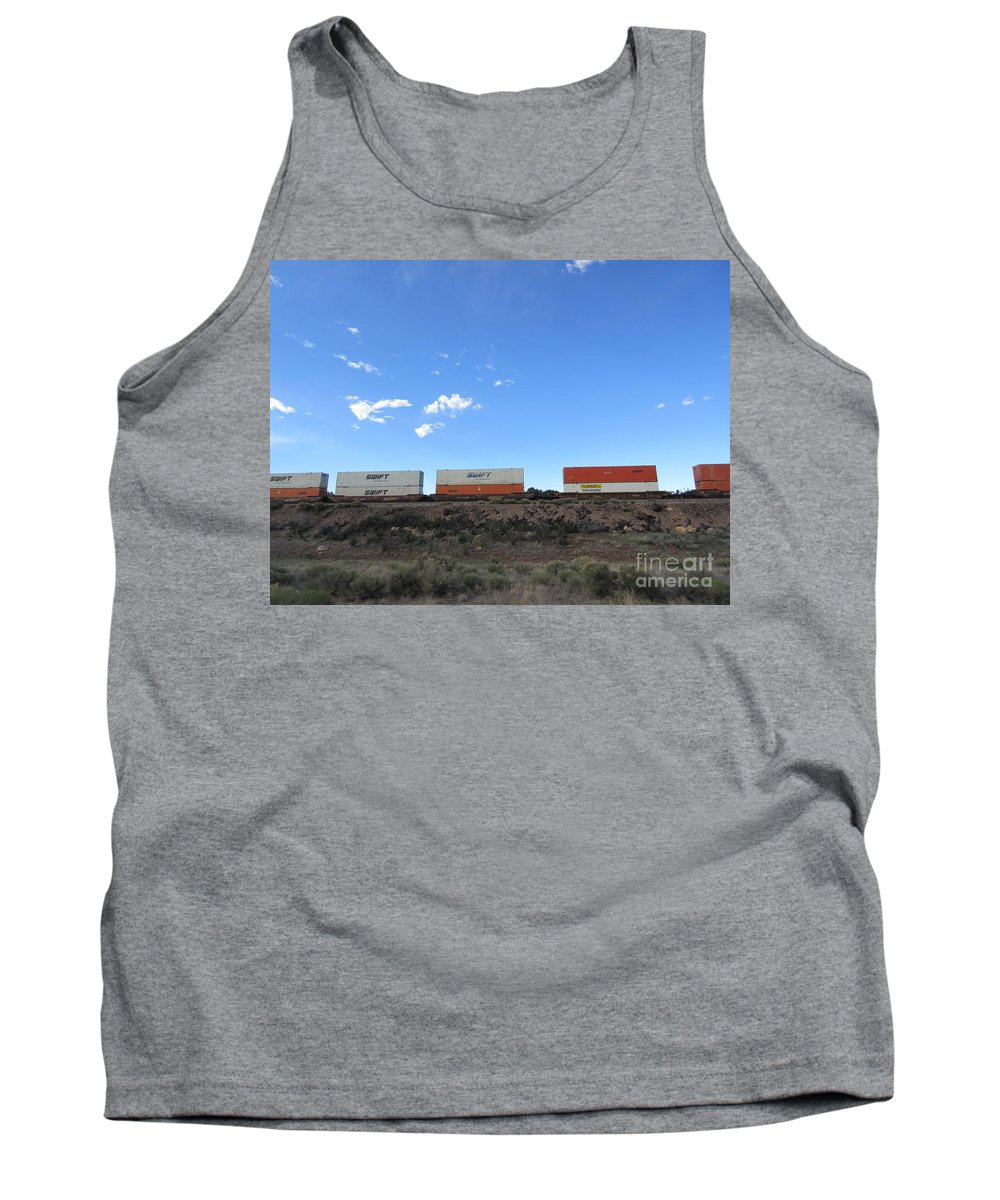 Train Tank Top featuring the photograph Train Cars by Frederick Holiday