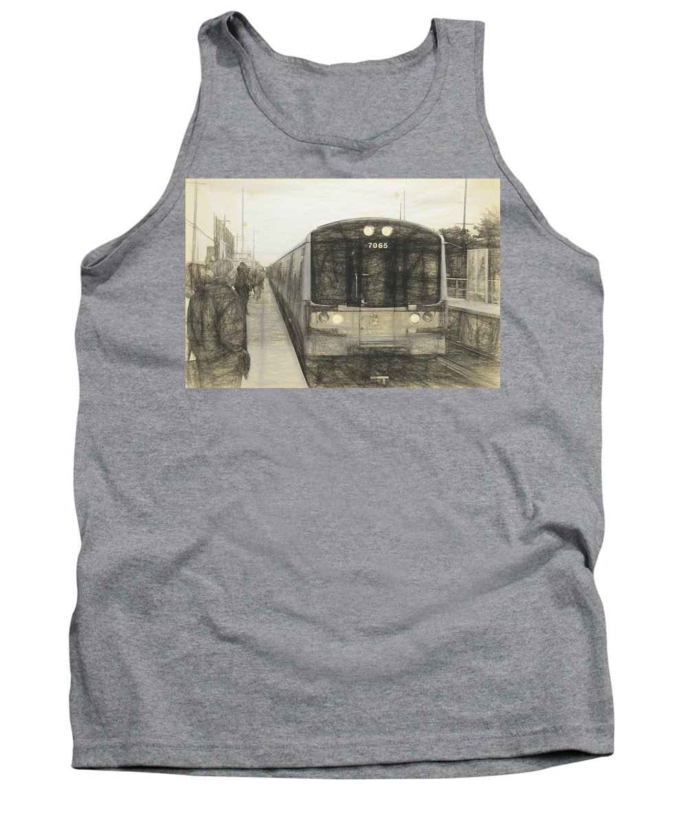 Long Island Train Tank Top featuring the photograph Train Sketch by Melvin Busch