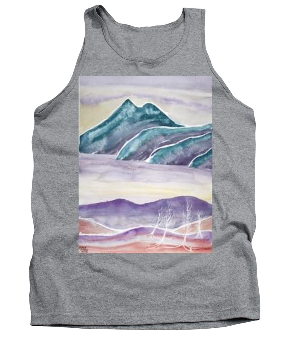 Watercolor Tank Top featuring the painting Tranquility Landscape Mountain Surreal Modern Fine Art Print by Derek Mccrea