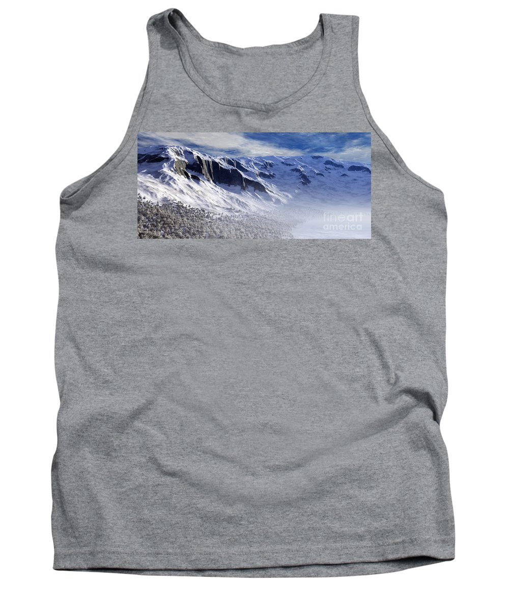 Mountains Tank Top featuring the digital art Tranquility by Richard Rizzo