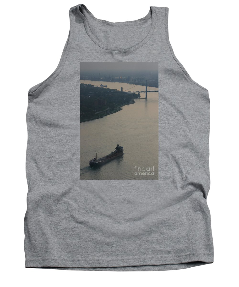 Detroit Tank Top featuring the photograph Transport On The Waterway by Linda Shafer