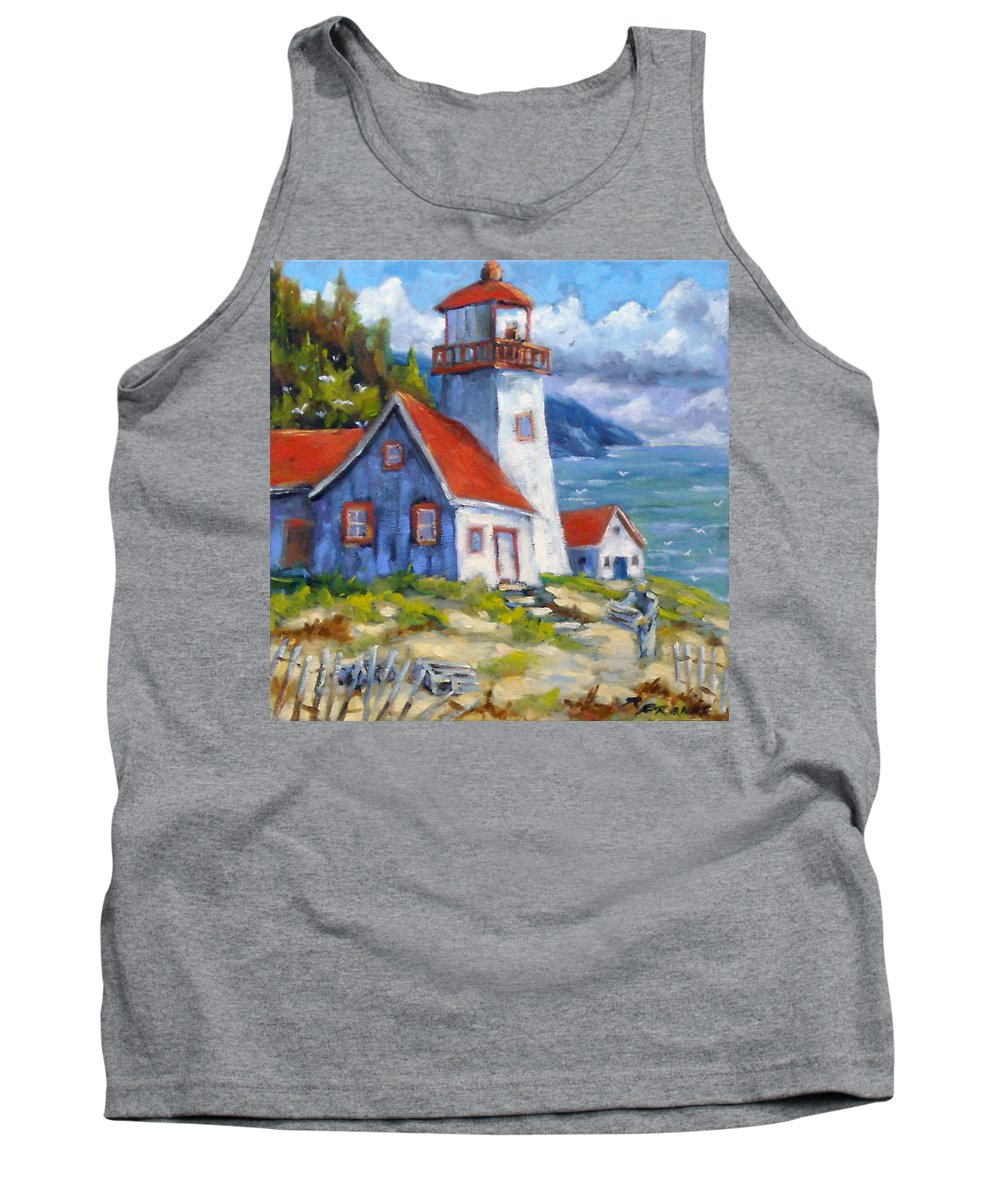 Art Tank Top featuring the painting Traps And Lighthouse by Richard T Pranke