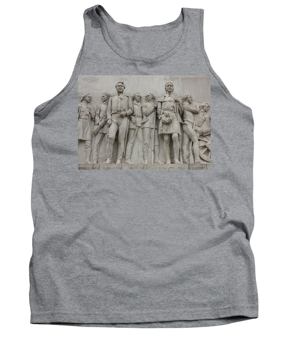 Alamo Tank Top featuring the photograph Travis And Crockett On Alamo Monument by Carol Groenen