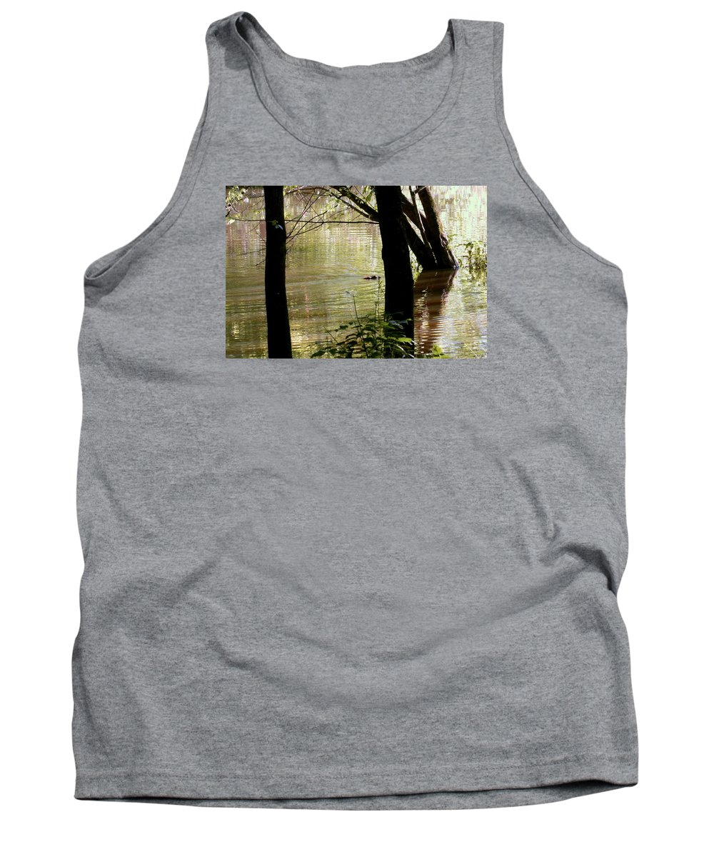 Pond Tank Top featuring the photograph Tree Bowing To Swimming Beaver by Kathy Barney
