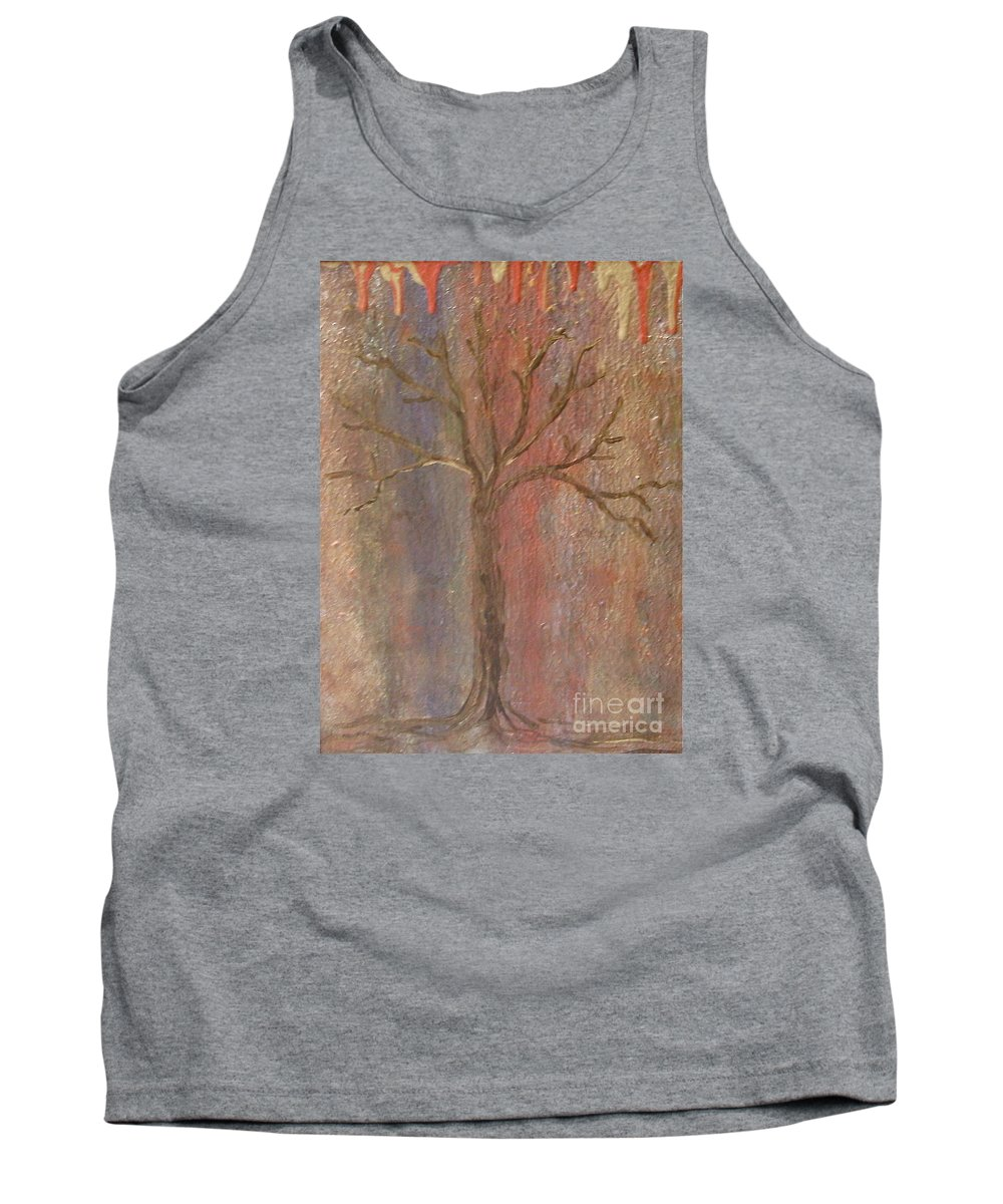 Metallic Tank Top featuring the painting Tree - Metallic 1 by Jacqueline Athmann